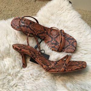 Zara strappy snakeskin heels